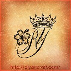 monogram YR tattoo #crown #hibiscus