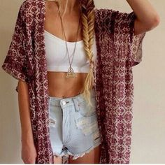 beautiful kimono sweater high waisted high waisted shorts dope indie grunge boho tumbr tumblr instagram hipster bralette ootd outfit fashion shorts spring break cardigan jewels earphones jacket