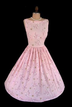 Vintage 1950's 50's Blossoms and Lady Bugs Pink Novelty Print Cocktail Garden Party Dress S