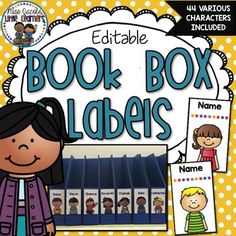 Book Box Labels:These Book Box Labels are perfect for labelling and personalising each of your students book boxes.The book box labels come in 44 different characters designs (22 girls and 22 boys). I have included some black copies for you to personalise and create your own.They are also editable which means all you have to do is choose your font, type in your students name, print and laminate/contact if you wish.