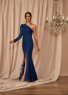 #Corded #Lace One Shoulder #Gown