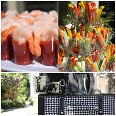Shrimp Shooters and Crudite's (veggies) displayed on a cupcake stand are fun for any event. Also use old fashion glass jars to display drinks. Low Country Boil, Outdoor Dinner Parties, Old Fashioned Glass, Party Activities, Fun Events, Grits, Tie The Knots, Glass Jars, Event Planning