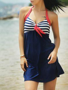 df2f31149b24b Newest Sexy Stripe Padded Halter Skirt Swimwear Women One Piece Swimsuit  Beachwear Bathing Suit Swimwear Dress Plus Size M-3XL