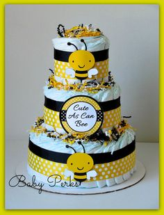 Bumble Bee Diaper Cake Mother to Bee Baby Shower Baby by MsPerks