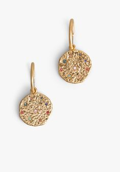 These gorgeous hoop earrings are adorned with hammered gold coins, embellished with star encircled sparkling stones. Wear with matching Lea Pendant for a beautiful finish to your look.