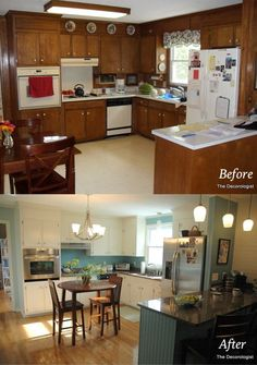 Mobile Home kitchen renovation. before and after. Mobile Home kitchen renovation. before and after. Kitchen Redo, New Kitchen, Kitchen Design, Kitchen Cabinets, Kitchen Makeovers, 1960s Kitchen, Narrow Kitchen, Wood Cabinets, White Cabinets