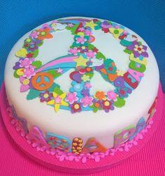 piece of peace please Fondant Cakes, Cupcake Cakes, 70s Party Decorations, Hippie Cake, Hippie Birthday, Girly Cakes, Crazy Cakes, Fun Desserts, No Bake Cake