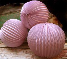 """12"""" Pink Accordion Paper Lantern Balls - (3 PACK)"""