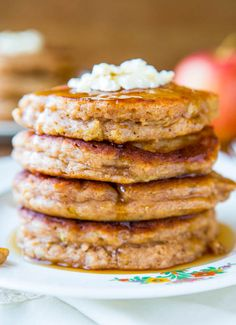 Apple Pie Pancakes with Vanilla Maple Syrup - So much faster & easier than making a pie & taste just as good!