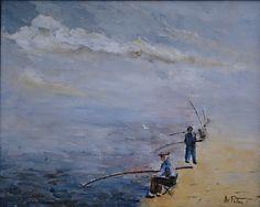 Pescatori a Baia ( NAPOLI ) Olio su tela, dipinto dal vero Anno 1988