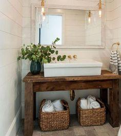 Vanities Sink Ideas - Floating Vanity - Rustic Modern Luxury - Modern Farmhouse Vanity Sink - Two Small Bathroom Sink Vanity - Built-in Vanities Sink Simple Bathroom, Modern Bathroom, Bathroom Ideas, Bathroom Mirrors, Bathroom Cabinets, Bathroom Vinyl, Bathroom Fixer Upper, Zebra Bathroom, Kmart Bathroom