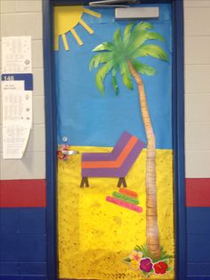 """""""Reading Shore is Fun"""". Beach themed door decoration. May 1, 2013"""