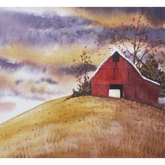 watercolor landscape painting PRINT red barn storm by derekcollins