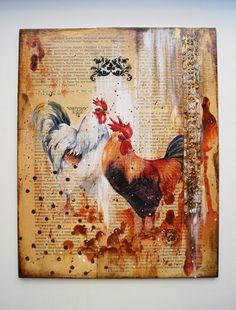 Mixed Media Collage Art, Rooster Picture, Mixed Media Art, Acrylic Canvas Art, Modern Wall Decor, Home Wall Decor, Christmas Gift