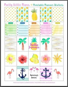 Items similar to PRINTABLE Watercolor Erin Condren Planner Summer Tropical Stickers on Etsy Printable Planner Stickers, Journal Stickers, Journal Cards, Planner Decorating, Planner Organization, Planner Pages, Happy Planner, Planer, Erin Condren