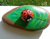 Painted Rock / Ladybug & Leaf Desk Set of 2 / Montana River Stones / Southern Girl Out West / Stephanie Amoroso