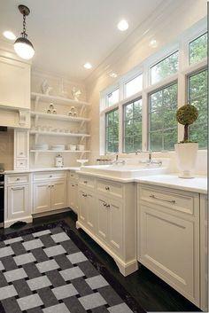 Traditional Kitchen Photos White Kitchen Design, Pictures, Remodel, Decor and Ideas - page 7 Kitchen And Bath, New Kitchen, Kitchen Dining, Kitchen Decor, Kitchen Ideas, Kitchen Layout, Kitchen Sinks, Kitchen Designs, Kitchen Shelves