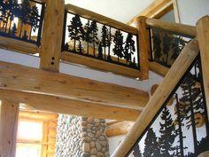 Balcony Panel (metal art silhouette deck and loft railing) Szabados Balkonverkleidung (Metallkunstsc Loft Railing, Balcony Railing, Railing Design, Railing Ideas, Metal Stairs, Metal Railings, Metal Deck, Iron Balusters, Log Home Designs