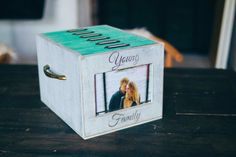 Mix-and-match grey+green photo box with 6 photo albums and front photo frame by…