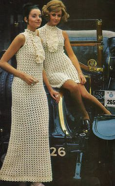 Vintage 60s MOD Frilly maxi mini Dress Crochet Pattern