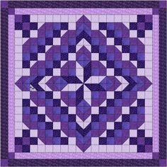 Quilt Kit Faceted Star/Shades of Purple/Precut and Ready to Sew/King Half Square Triangle Quilts, Square Quilt, Quilting Projects, Quilting Designs, Quilt Square Patterns, Purple Quilts, Nancy Zieman, Crochet Quilt, Lap Quilts