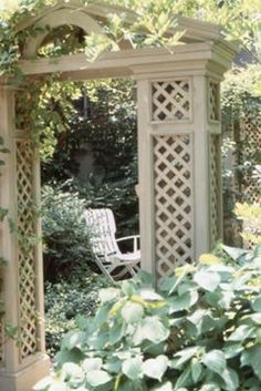 A combined garden gate and trellis www.douggreensgarden.com