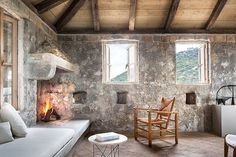 Architect Steven Harris And Interior Designer Lucien Rees Roberts Create An Idyllic Oasis In Croatia : Architectural Digest Architectural Digest, Old Stone Houses, Stone Interior, Art Deco, Coastal Living Rooms, Belle Villa, Fireplace Design, Fireplace Stone, Decoration