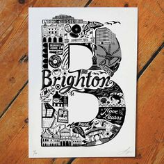 Best Of Berlin Print by Lucy Loves This, the perfect gift for Explore more unique gifts in our curated marketplace. Typography Letters, Typography Design, Hand Lettering, Berlin, Identity, Personalized Wall Art, Brighton And Hove, Letter B, Student Gifts