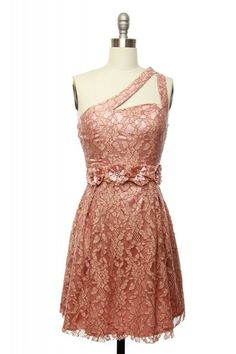 So pretty! Peach lace dress with flower waist and shoulder top