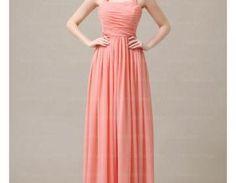 Elegant Long Halter Coral Bridesmaid Dresses, Bridesmaid Dresses, Wedding Party dresses
