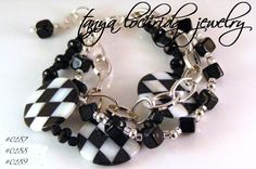 Tanya Lochridge Jewelry Art Deco Onyx & Mother of Pearl Bracelet
