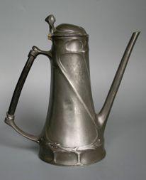 Art Nouveau German pewter coffeepot, marked ORION 200, designed by Friedrich Adler, 23.5 cm high