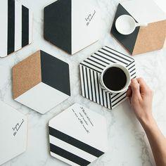 Cork Coasters Set Of Four, Cork Hexagons - Rocket and Fox Cement Crafts, Clay Crafts, Easy Home Decor, Diy Home Crafts, Diy Para A Casa, Room Deco, Cork, Diy Y Manualidades, Do It Yourself Inspiration