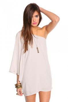 serious flare dress - dove grey $48