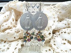 religious assemblage earrings medal rhinestone by lilyofthevally