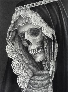 Skull pencil drawing by Laurie Lipton