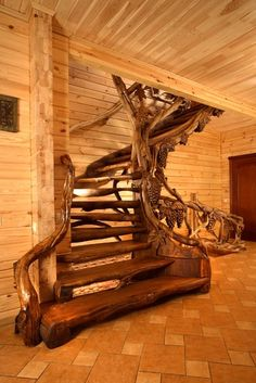wood carvings in Ukraine Rustic Staircase, Staircase Design, Stair Design, Escalier Art, Wood Walkway, Wooden Stairs, Log Cabin Homes, Log Furniture, Banisters