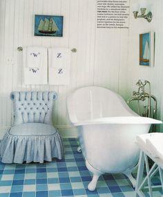 """Lovely bathroom & claw foot tub. Love the """"gingham"""" tile floor."""