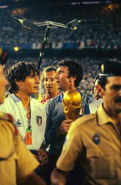 Italy's Dino Zoff with the World Cup 1982