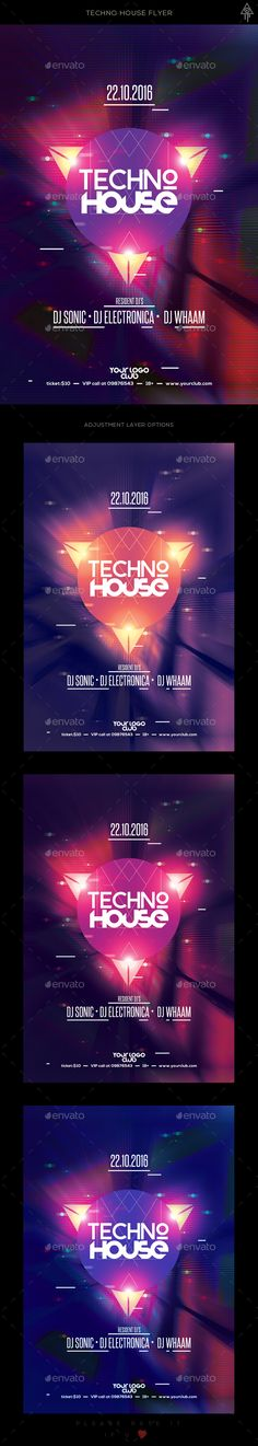 Techno House Flyer The PSD file is very well organized in folders and layers. You can modify everything very easy and quick. Changing the color style, pictures and the typo is no problem. The main folders that will require most customization are highlighted in