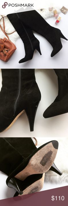 """- VIA SPIGA - Tall Suede Heeled Boots Keep your feet warm and chic in these gorgeous Via Spiga tall suede boots! Wear with leggings and an oversized sweater for a casual vibe or dress up with skinny jeans & a button down! Excellent pre-loved condition, no major flaws, heel has a divet in side shown in 2nd photo.  Approx. Measurements  Heel Height: 4"""" Sole Length: 11.5"""" 🛍Bundle & Save 20% on 2+ items! 🙅🏼No trades / selling off of Posh.  ✨Offers always welcome!✨ Via Spiga Shoes Heeled Boots"""