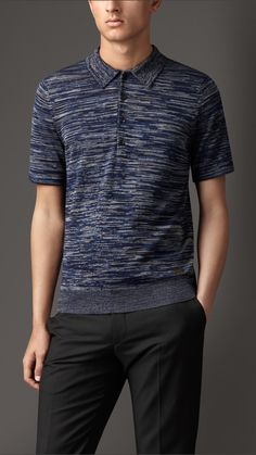 Knitted Silk Wool Polo Shirt   Burberry