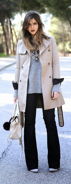 Causal Trench   Flared Jeans