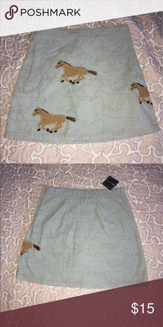 NWT Lands End horse skirt corduroy pale blue New with tags! Super cute girls skirt with horses all over. I must for anyone that loves horses and ponies 🐴🦄 Lands' End Bottoms Skirts