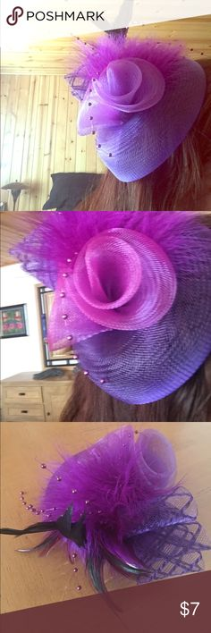 Purple fascintor from Nordstrom BP This auction is for an almost new purple fascinator with purple and black feathers. It has only been once and looks like it's in new condition. #fascinator #Kentuckyderby #fancyhats #Derbyhats #Derby #retro #rockabilly #vintage Accessories Hair Accessories