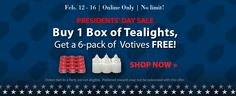 "Love candles? Presidents Day Weekend Sale! Buy 1 box of PartyLite Tealights and get a FREE box of votives! Plus, text ""TEALIGHT"" to 571-233-9875 to get a promo code for a free box of tealights on today's order too!"