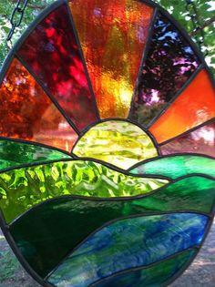 Stained Glass Window Suncatcher Sunset  Ocean  by SuzanneEmerson, $82.75: