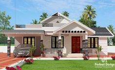 This one storey house design with roof deck is designed to be built in a 114 square meter lot. Simple and elegant front perspective. With 3 bedrooms, one serving as masters bedroom with en-suite bath Single Floor House Design, 2 Storey House Design, Simple House Design, House Design Photos, Tiny House Design, Modern House Design, Bungalow Haus Design, Modern Bungalow House, Duplex House