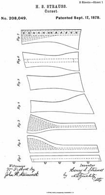 Corset Pattern patent, dated September 7th, 1878