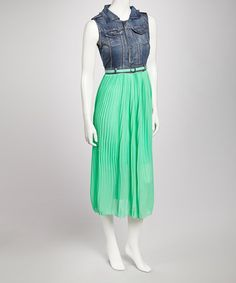 Take a look at this Green Sleeveless Dress by Meetu Magic on #zulily today!